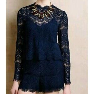Anthropologie Saylor navy lace romper